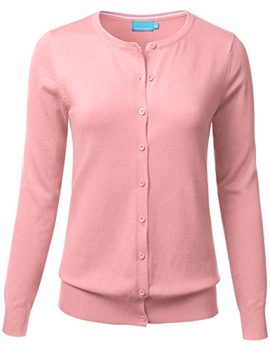 FLORIA Womens Button Down Crew Neck Long Sleeve Soft Knit Cardigan Sweater 2XL, Fc280_peach