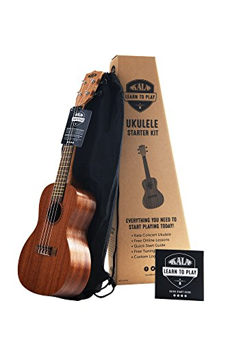 Kala 4-String Ukulele, Light Mahogany Stain, Learn to Play Kit LTP-C