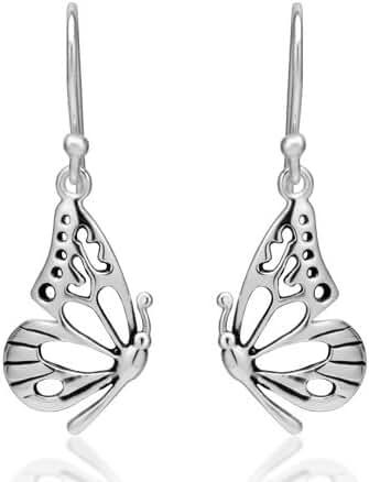 925 Sterling Silver Open Half Butterfly Wing Dangle Hook Earrings