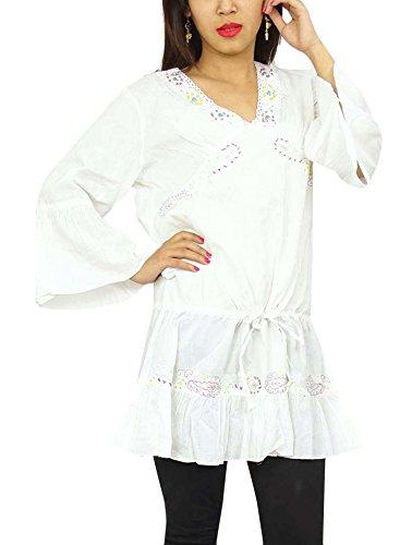 India Kurti del largo de la manga de la impresión de algodón de las mujeres del desgaste de la ropa étnica Blanco - 1