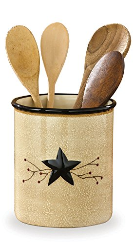 "Park Designs Star Vine Utensil Crock, Multicolor - Utensil Crock 6.5"" Tall Hand painted design Made of quality high fire dolomite - living-room-decor, living-room, home-decor - 410lnhiYi1L -"