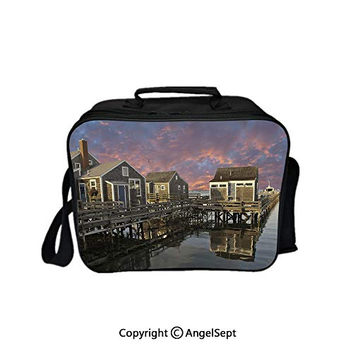 Multifunctional Lunch Bags for Women Wide Open,Sunset over Nantucket Massachusetts Dramatic Sky Clouds Pond Houses Coral Blue Sepia 8.3inch,Lunch Box With Double Deck Cooler Tote Bag