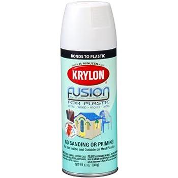 Krylon K02518001 Fusion For Plastic Spray Paint, Flat White, 12 Ounce