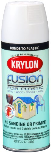 (Krylon K02518001 Fusion For Plastic Spray Paint, Flat White, 12 Ounce)