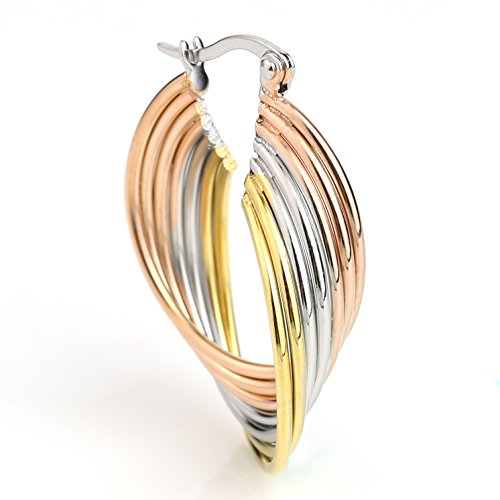 - United Elegance -Elegant Twisted Tri-Color Silver, Gold & Rose Tone Hoop Earrings (Elegant Twisted)