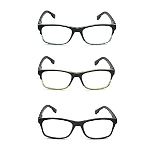 EYE-ZOOM 3 Pairs Classic Style Reading Glasses with Spring Hinge Comfort Fit for Men and Women Choose Your Magnification, Brown, Green and Grey +3.50 Strength