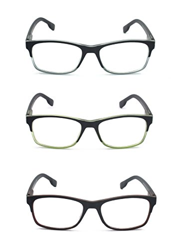 EYE-ZOOM 3 Pairs Classic Style Reading Glasses with Spring Hinge Comfort Fit for Men and Women Choose Your Magnification, Brown, Green and Grey +1.50 - Reading Glasses Wide Face