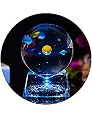 3D Crystal Ball with Solar System Model and LED Lamp Base, ALLOMN mini 80mm Galaxy Crystal Ball Glass Sphere Best Gift for Kids, Teacher of Phycics, Boyfriend, Girlfriend, Birthday, Lover of the Universe