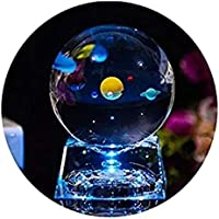 3D Crystal Ball with Solar System Model and LED Lamp Base, ALLOMN mini 80mm Galaxy Crystal Ball Glass Sphere Best Gift…