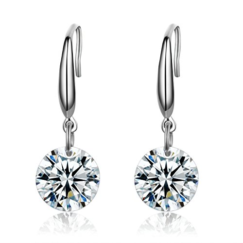 SBLING Platinum-Plated Sterling Silver Drop Earrings Made with Swarovski Crystals (4 cttw)