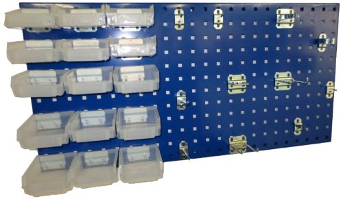 Triton Products LB18-1BHBTR-Kit 18 In W x 36 In H Epoxy Steel Square Hole Pegboard Kit with Mounting Hardware, Blue, 43-Pack by Triton 2