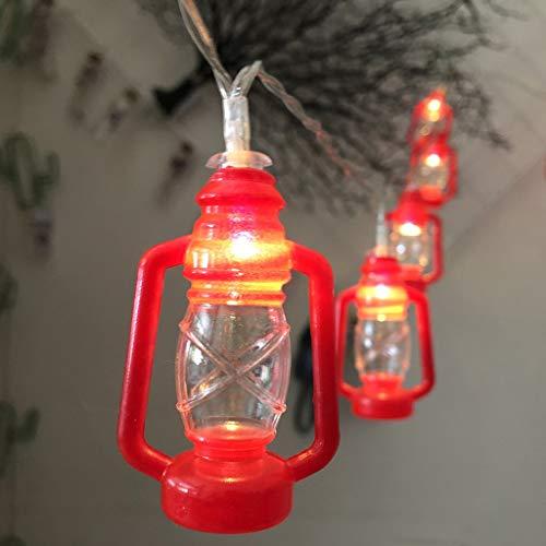 String Light Retro Kerosene Lamp LED Ramadan Festival for Decor - SHUDAGE Iron Letter Cast Light Hanging Strip Light for Patio/Party/Window/Bedroom (3M 20-Lamp)