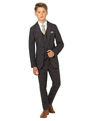 Paisley of London, Ainsley Tweed, Boys Gray Slim Fit Occasion Wear, Kids Wedding Suit with Shirt and Gray Vest, 5