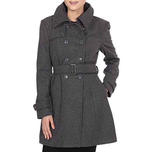 Double Breasted Long Coat - alpine swiss Keira Women's Gray Wool Double Breasted Belted Trench Coat Medium