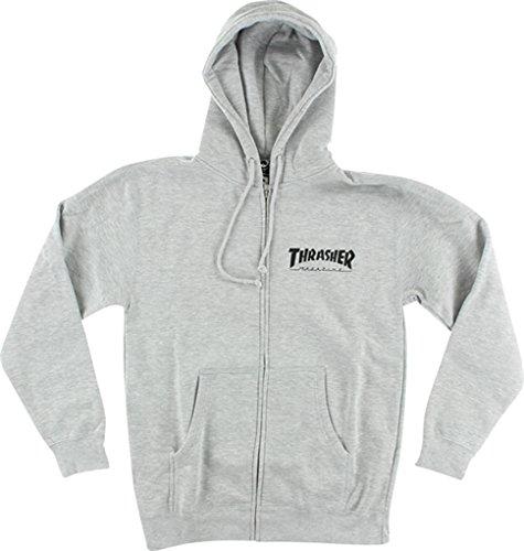 Thrasher Magazine Skate Mag Zip Heather Grey Hooded Sweatshirt - Large