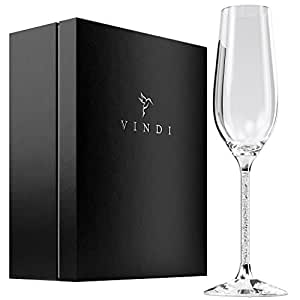 Crystal Champagne Glasses by Vindi Design. Unique Silver Leaf Stem Toasting Flutes. Lead Free Champagne Flutes. Set of 2 + Gift Box, Black. Perfect Wedding Gift