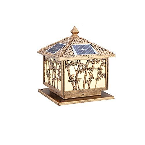 (Wapipey IP54 Outdoor Waterproof LED Solar Pillar Lamp European Creative Bamboo Glass Lantern Column Lamp Aluminum Cast Metal Retro Courtyard Gate Wall Post Light (Color : Brass))