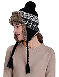 Warm Women Winter Hat with Ear Flaps Snow Ski Thick Knit Wool Beanie Cap Hat