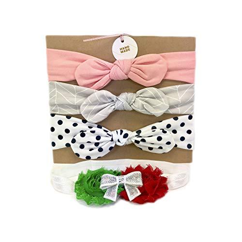 Paquete de 4 diademas para bebe rosa, gris y blanca con puntos negros, las banditas son para niñas bebes de 0 a 24 meses,...