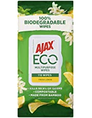 Ajax Eco Antibacterial Disinfectant Surface Cleaning Wipes, Bulk 110 Pack, Fresh Lemon, Multipurpose, Biodegradable and Compostable, Made with Bamboo Fibres