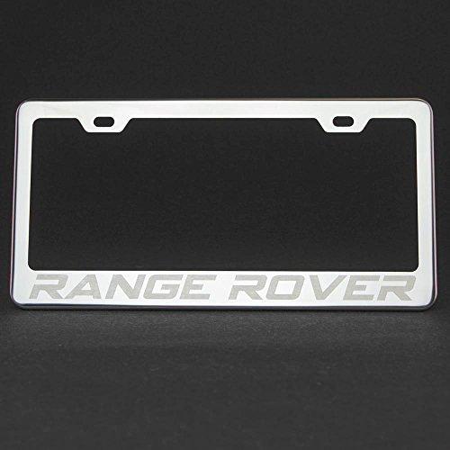 One Range Rover Polish Mirror Chrome Stainless Steel License Plate Frame Holder Front Or Rear Bracket Laser Engrave w/ Screw ()