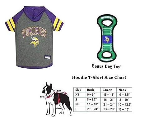 e1b2e6bec Amazon.com : PF Minnesota Vikings Combo Dog Hoodie T-Shirt [Large (L ...
