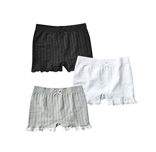Lace Trim Girl Brief (Taiycyxgan Little Girls Kids Cotton Lace Trim Boyshorts Underwear 3Pcs Boxers Briefs Safety Panties WhiteGreyBlack L)