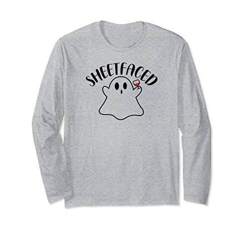 Wine Wino Sheetfaced Ghost Shitfaced Halloween Costume Party Long Sleeve