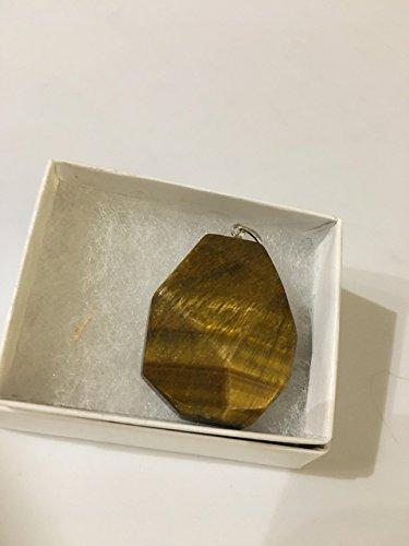 - natural tiger eye gemstone faceted freeform pendant