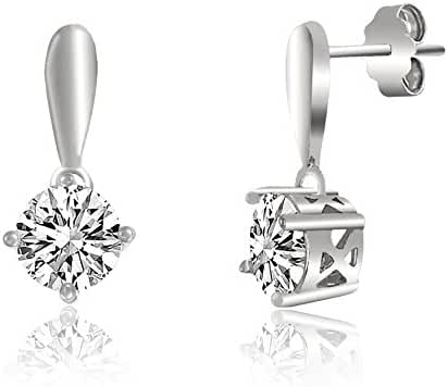 Sterling Silver Cubic Zirconia Diamond Shape 4 Prong Circle Post Earring