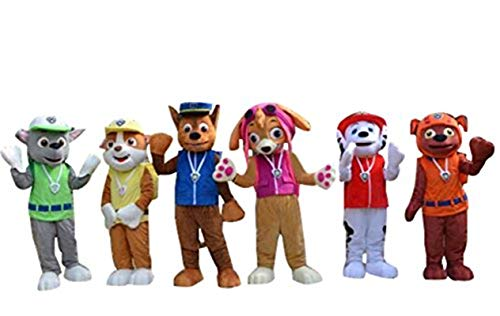 Paw Patrol Dog Dogs Adult Mascot Costumes Cosplay Fancy Dress Outfits (Rocky(in Green Suit))
