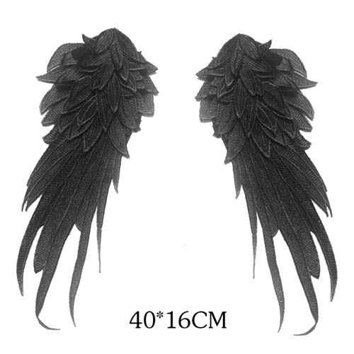 Laliva 1Pair Black White Embroidered Angel Wings Lace Fabric Shoulder Lace Sewing Applique DIY Halloween Costume DecorationRS794 - (Color: Black L) ()