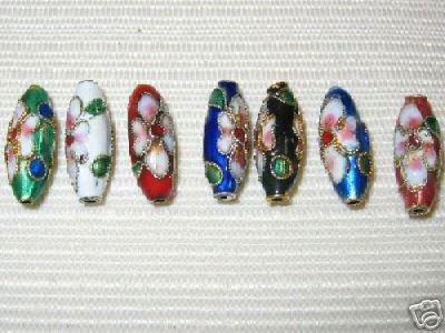 Filigree Cloisonne (50 New 6x17mm Drop Mix Filigree Cloisonne Beads)