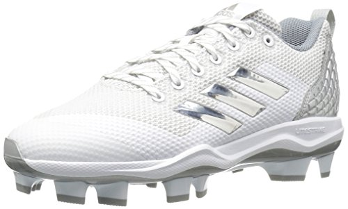 adidas Men's Freak X Carbon Mid Softball Shoe, White/Metallic Silver/Light Grey, 9 Medium US (Mid Shoe Softball)