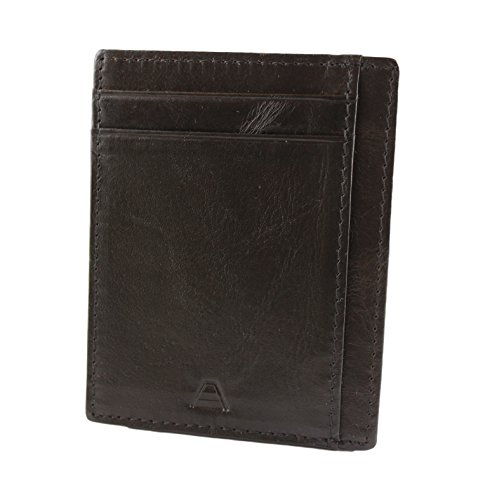 Andar RFID Minimalist Front Pocket Wallet - Made of Classy Full Grain Leather (Black) by Andar (Image #3)