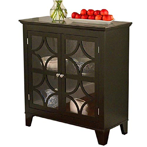Curio Buffet (BS Sideboard Buffet Storage Cabinet Black Wooden 2 Door Server Curio Display Pantry Organizer Wood Utility Stand Accent Cabinet Entryway Living Room Office Dining Room & eBook by BADA Shop)
