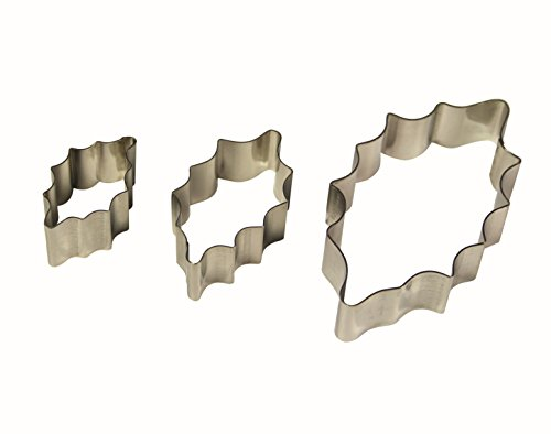 PME 3pk HOLLY LEAF Cut Out Stainless Steel Icing Cutters Sugarcraft Cake ()