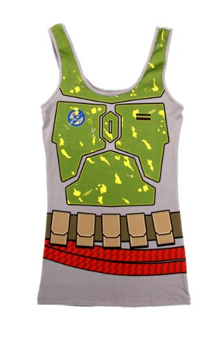 Star Wars Boba Fett Juniors Gray Costume Tank Top Shirt (Juniors Large) -