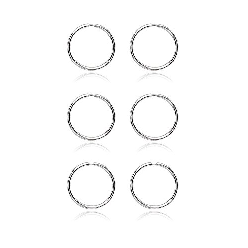 14K White Gold Tiny Small Endless 10mm Thin Round Lightweight Unisex Hoop Earrings, Set of 3 Pairs by Hoops 4 Less (Image #2)