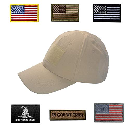 HOZZQ Tactical Hat Adjustable Operator Flex Mesh Cap Hat with 6 Pieces Tactical Military Patches USA Flag Patch Baseball Cap Ball Cap Hat Military Morale Set for Men (Khaki)