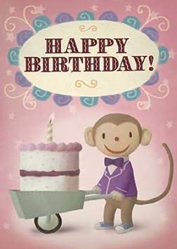 Pack de 5 feliz cumpleaños tarta de mono tarjetas de felicitación por Stephen Mackey: Amazon.es: Hogar