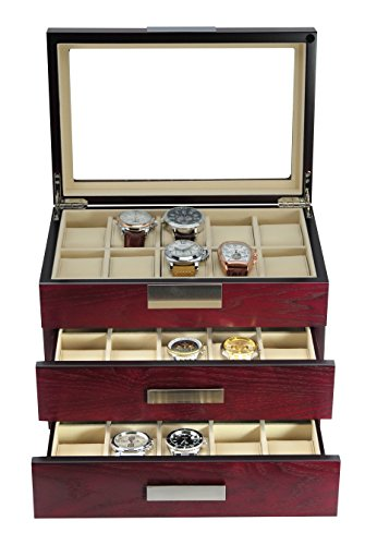 TimelyBuys 30 Cherry Wood Watch Box Display Case 3 Level Storage Jewelry Organizer with Glass Top, Stainless Steel Accents, and 2 Drawers