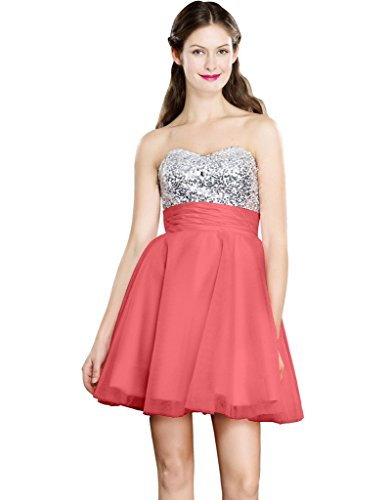 Color e Dress Women's Beaded Sweetheart Short Evening Homecoming Prom Dresses Size6 Coral