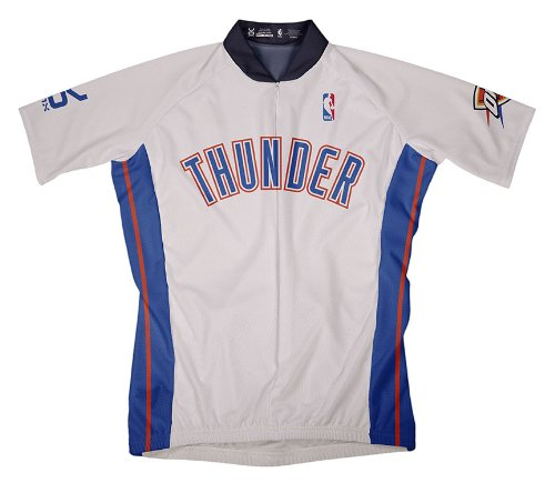 NBA Oklahoma City Thunder Men's Short Sleeve Cycling Home Jersey, Large, White (Cycling Oklahoma State Jersey)