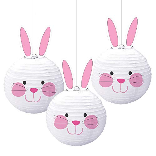 Multicolored Bunny Shaped Paper Lanterns, 3 Ct. | Easter Decoration ()