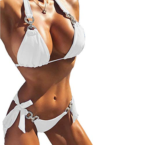 YAUASOPA Women 2PCS Shiny Diamond Bikini Set Tankini Sexy Bra Swimsuit Praty Bathing Suit (US 4-6(M), White)
