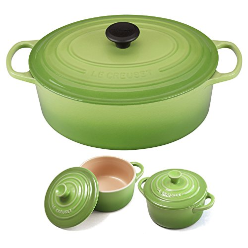 - Le Creuset Signature Palm Enameled Cast Iron 6.75 Quart Oval French Oven with 2 Free Stoneware Cocottes