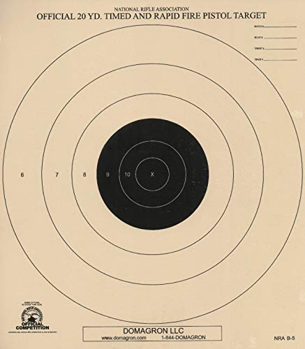 (DOMAGRON 20 Yard Timed and Rapid Fire Pistol Target Official NRA Target B-5 (100 Pack))
