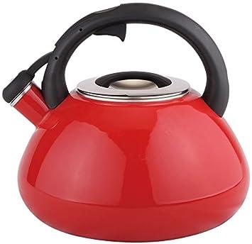 3 litros de silbato (Whistling Kettle té Jarra Agua Hervidor de agua rojo