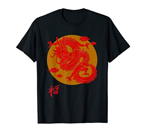 Oriental Dragon T-shirt With Rising Sun and Character Kid